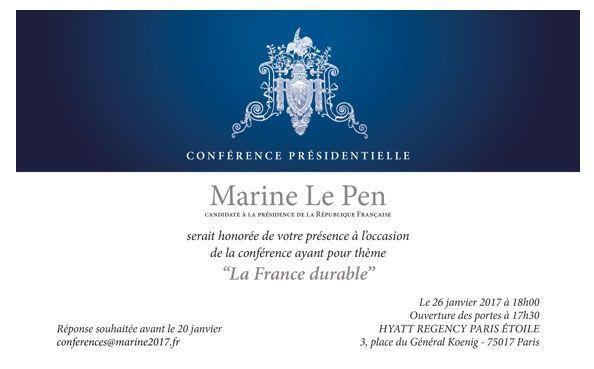 L'invitation diffusée jeudi par Marine Le Pen.