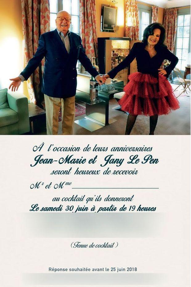 L'invitation envoyée à 200 personnes par Jean-Marie et Jany Le Pen pour leurs anniversaires.