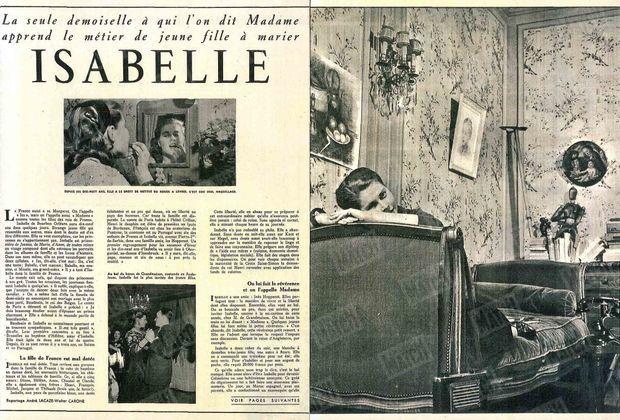 « La seule demoiselle à qui l'on dit Madame apprend le métier de jeune fille à marier, Isabelle. » - Paris Match n°105, 24 mars 1951