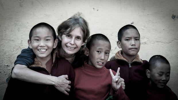 Isabelle Garcia-Chopin et les petits moines.