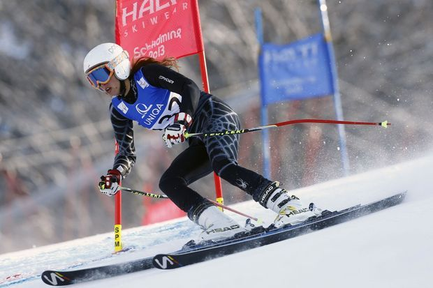 Jackie Chamoun sur les skis, le 14 février 2013.