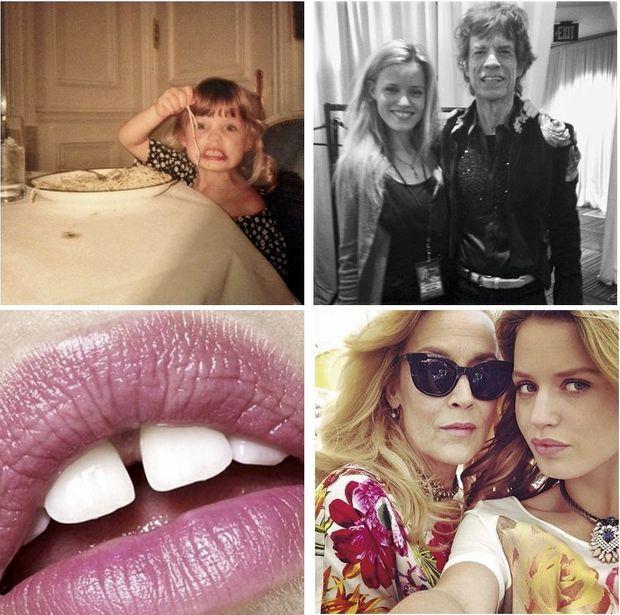 De g. à d. et de h. en b.: Georgia petite fille, Avec son père, Mick Jagger, Une bouche déjà célèbre, Avec Jerry Hall, sa mère.