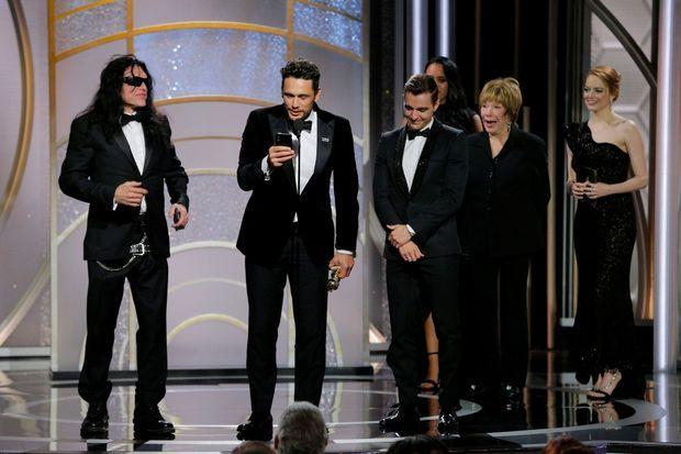 James Franco lors de son discours sur la scène des Golden Globes.