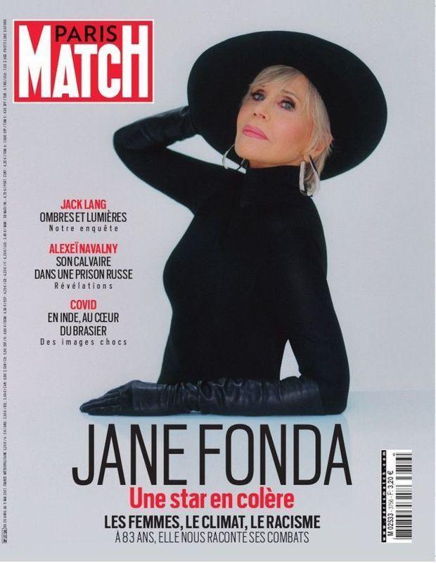 Jane Fonda en couverture de Paris Match n°3756, daté du 29 avril 2021.