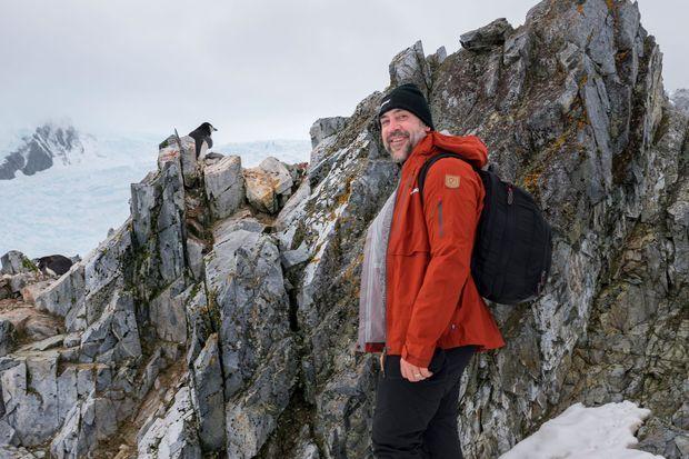 Javier Bardem sur le détroit de Gerlache, le 25 janvier 2018.