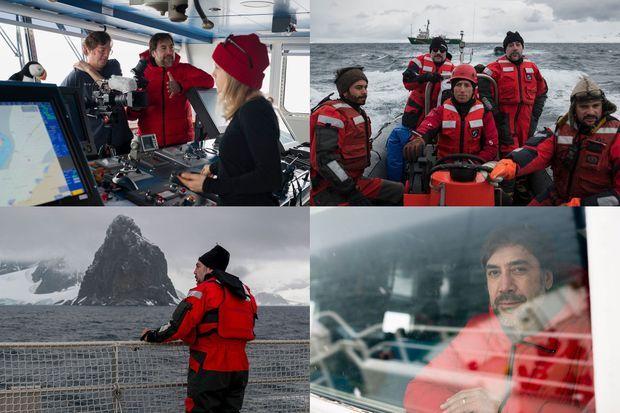 Javier Bardem lors de l'expédition de Greenpeace dans l'Antarctique.