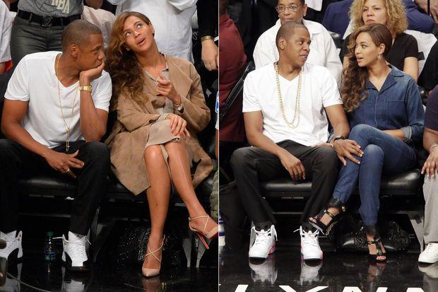 Jay Z et Beyoncé ont assisté à des matchs de basket à New York le 10 et le 12 mai.
