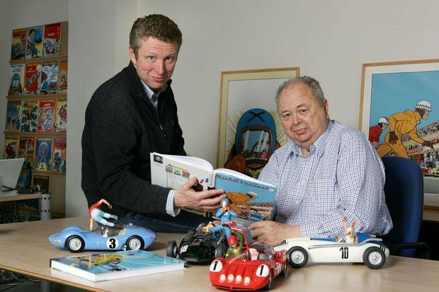 Jean Graton avec son fils Philippe dans les studios de la chaussée de Waterloo où il recevait Match.