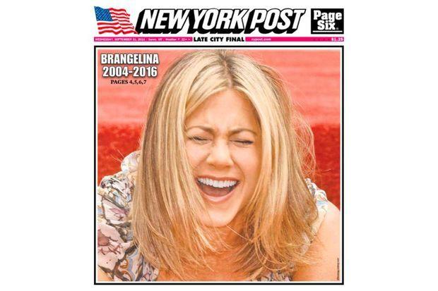 """Jennifer Aniston en couverture du """"New York Post"""" au lendemain de la séparation de Brad Pitt et Angelina Jolie"""