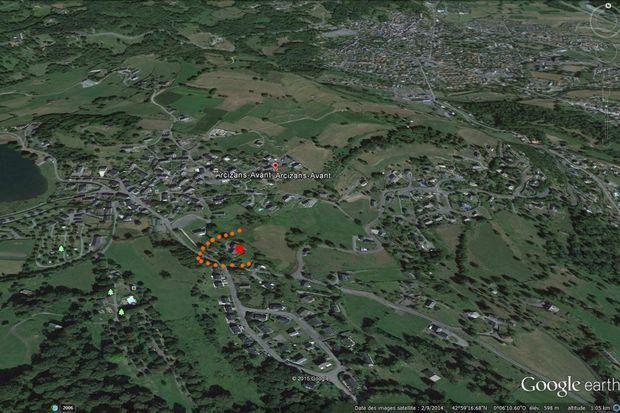 Freddy Sailly a indiqué sur cette carte satellite le lieu où se trouvait l'objet au sud du village d'Arcizans-Avant.