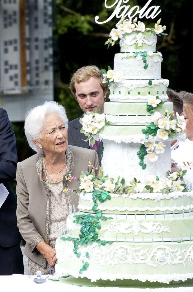 Le prince Joachim de Belgique avec sa grand-mère l'ancienne reine des Belges Paola le 29 juin 2017