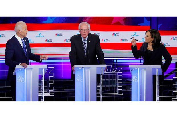 Joe Biden, Bernie Sanders et Kamala Harris durant le premier débat démocrate, en juin 2019.