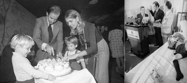 A gauche : Joe Biden avec son épouse Neilia et leurs deux fils Hunter et Beau. A droite, Joe Biden prêtant serment à côté de Beau, toujours hospitalisé après l'accident.