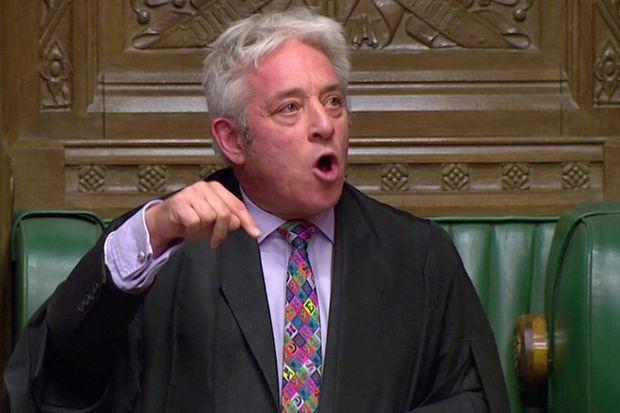 Le speaker de la Chambre des Communes, John Bercow, lundi. Il a refusé un nouvel examen de l'accord de Brexit, jugeant qu'il avait déjà été rejeté samedi.