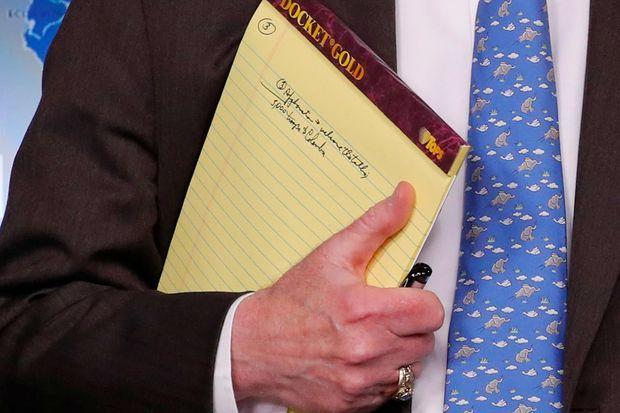 Les notes de John Bolton, à la Maison-Blanche, le 28 janvier 2019.