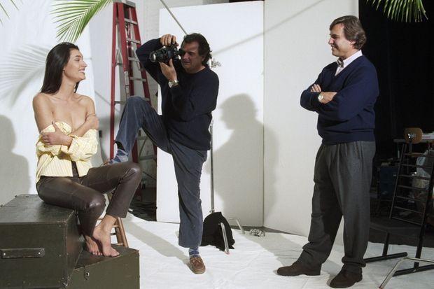 Lors d'une séance photo, avec la mannequin Zofia Borucka et le photographe Patrick Demarchelier.