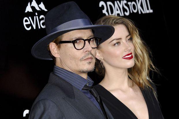 """Le premier tapis rouge officiel pour Johnny Depp et Amber Heard, à la mi-février, pour la première de """"3 Days to Kill""""."""