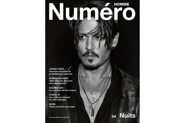 """Johnny Depp en couverture de """"Numéro Homme"""""""