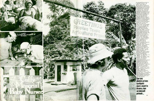 """Photo de gauche, en haut : """"L'atelier de réparation de vieux vêtements revendus aux USA."""" - Photo de gauche, au milieu : """"L'atelier de soudure. On y faisait des bijoux."""" - Photo de gauche, en bas : """"La nursery comptait quelque cinquante bébés, tous exécutés."""" - Photo de droite : """"À Jonestown, les cultures principales étaient l'arachide et la banane. La communauté vivait de sa production."""" - Paris Match n°1541, 8 décembre 1978"""