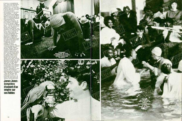 """Photo de gauche, en haut : """"Campagne démocrate en 1976 : les membres de la secte miment l'esclavage des Noirs."""" - Photo de gauche, en bas : """"Le pasteur Jones à Guyana avec son perroquet, l'un des survivants du massacre."""" - Photo de droite : """"Baptême par l'immersion dans la piscine de l'église de Redwood Valley, en 1973. Assis au centre, le pasteur Jones."""" - Paris Match n°1541, 8 décembre 1978"""