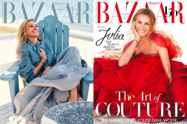 Julia Roberts en couverture du numéro de novembre de Harper's Bazaar