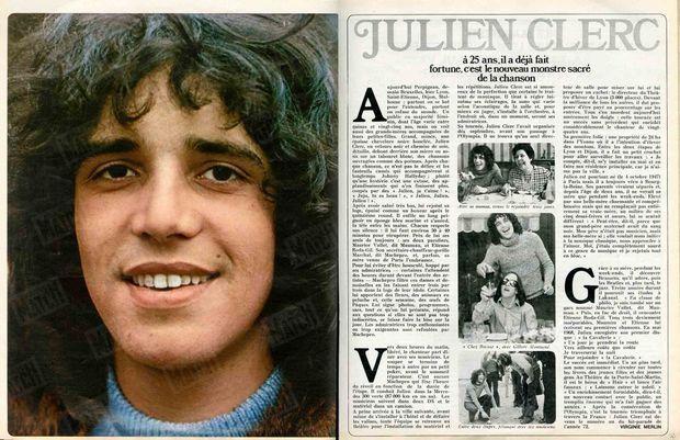 Julien Clerc dans Paris Match n°1196, daté du 8 avril 1972.