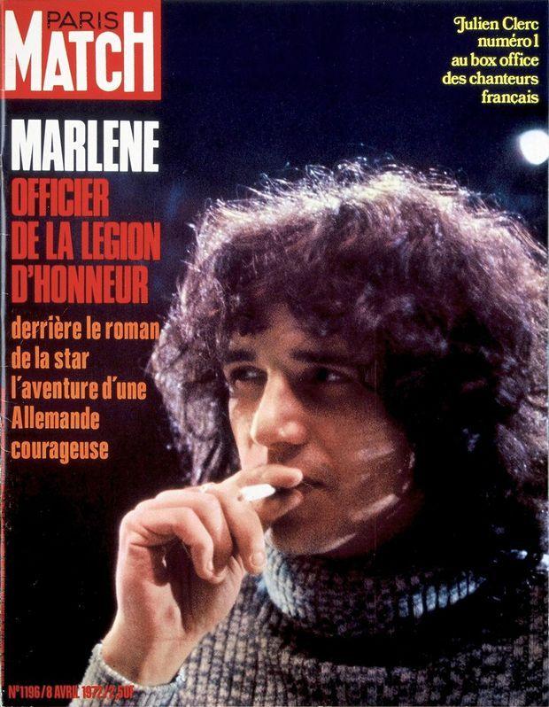 «Julien Clerc, numéro 1 au box office des chanteurs français», en couverture de Paris Match n°1196, 8 avril 1972