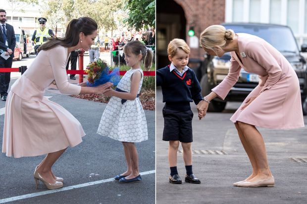 La duchesse Catherine de Cambridge à Adélaïde, le 23 avril 2014 - Le prince George avec Helen Haslem à Londres, le 7 septembre 2017