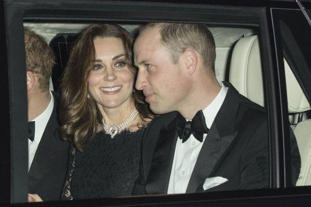 Kate, William et Harry le soir du dîner des noces de platine de la reine Elizabeth II et du prince Philip, le 20 novembre 2017