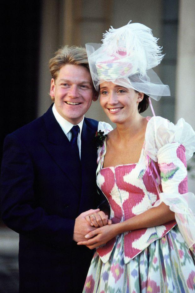 Le mariage d'Emma Thompson et Kenneth Branagh, à Londres le 20 août 1989.