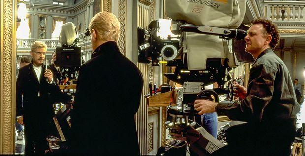 "Kenneth Branagh sur le tournage d'Hamlet"" en 1996."