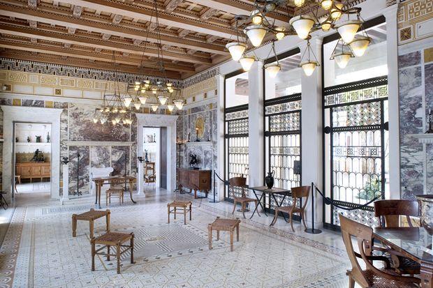 Vue sur l'intérieur de la Villa Kérylos