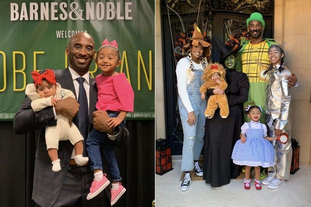 A gauche : Kobe Bryant avec ses filles Capri et Bianka en septembre 2019 lors d'une dédicace de son livre. A droite : toute la famille réunie pour Halloween en octobre 2019.