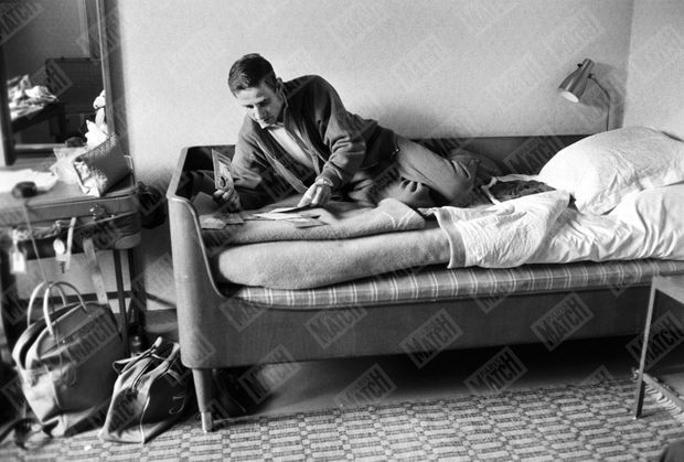 Raymond Kopa à l'hôtel de Geer à Finspång, début juin 1958.