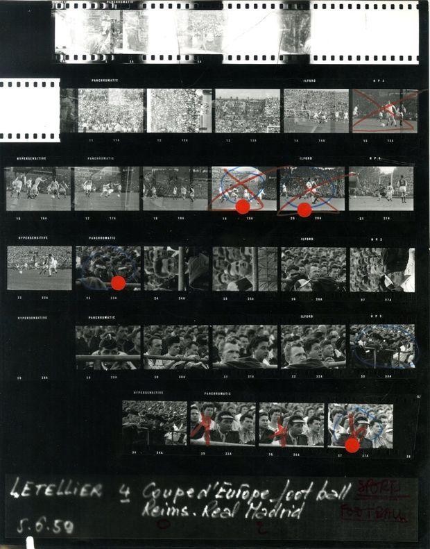 La planche contact des photos prises par Philippe Le Tellier lors de la finale de la Coupe d'Europe, en juin 1959 à Stuttgart.
