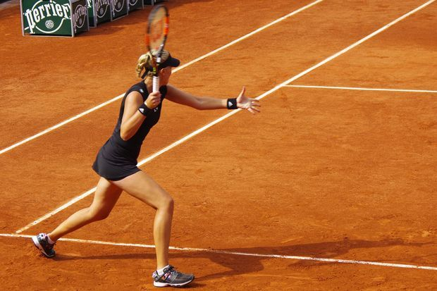Kristina Mladenovic lors de son match ce mardi