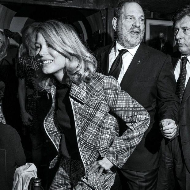 L'actrice et Harvey Weinstein lors du traditionnel dîner Charles Finch et Chanel. Ici en février 2015, la veille des Bafta Awards, à Londres.