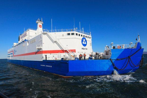 """L'""""Akademik Lomonosov"""" en mer, le 14 septembre 2019."""