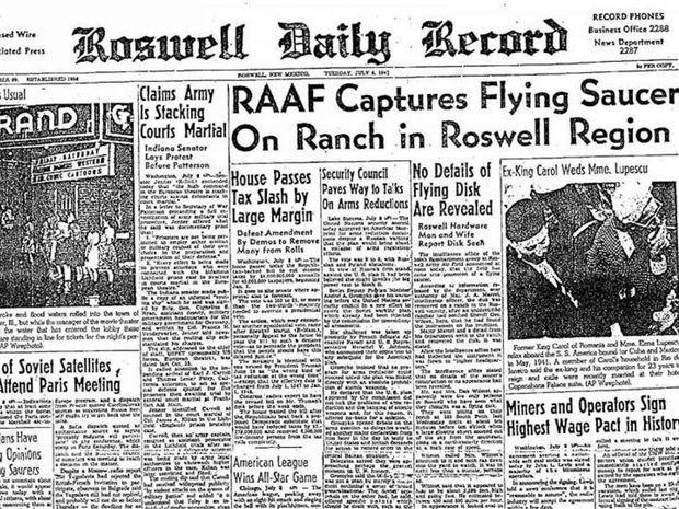 L'annonce de la récupération d'un ovni à Roswell par l'US Air Force dans le journal local en juillet 1947.