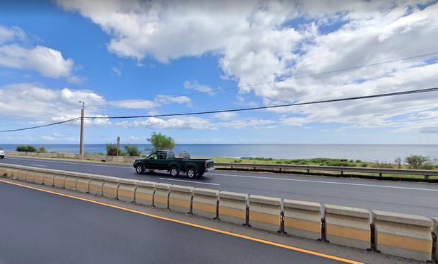 L'endroit précis où deux témoins ont vu l'objet insolite disparaître dans l'océan.