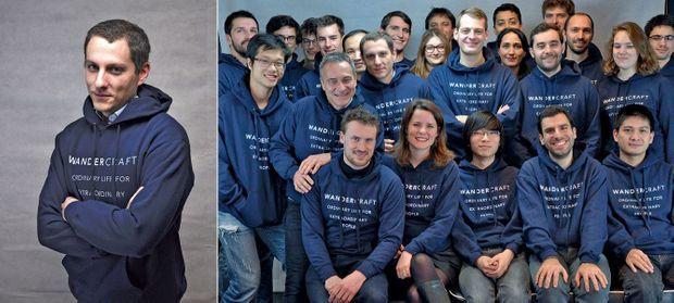 A gauche Matthieu Masselin et l'équipe de Wandercraft.