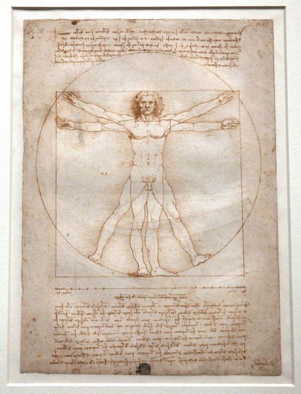 « L'Homme de Vitruve », vers 1490. Pointe métallique, plume et encre brune sur papier.