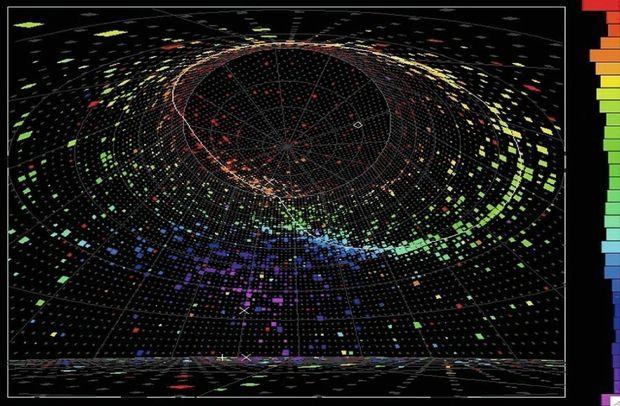 L'image d'un neutrino recréée dans l'atmosphère terrestre, comme une onde de choc, produisant un flash de lumières.