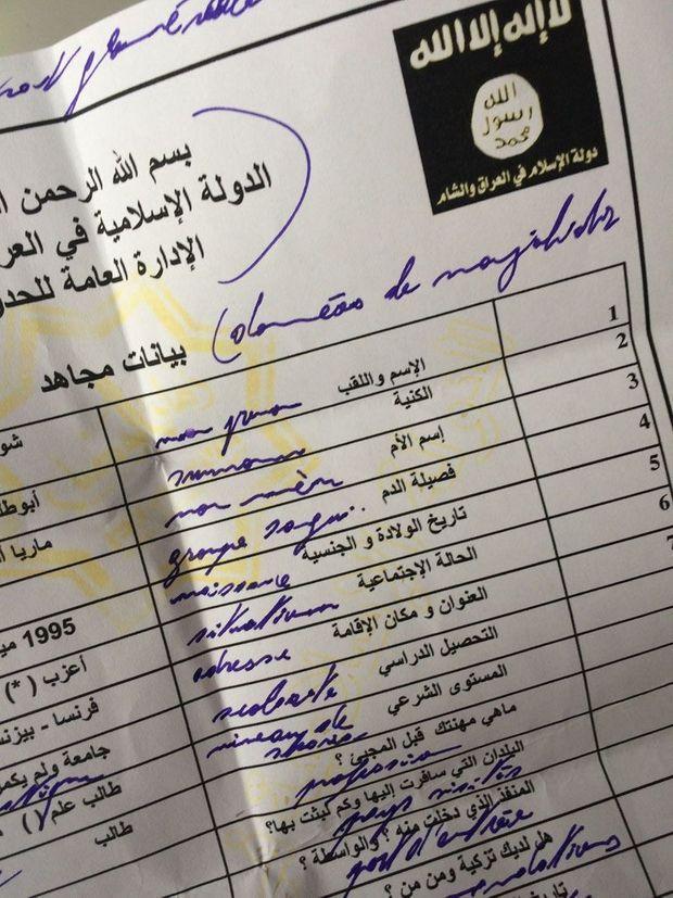 L'un des documents de Daech qu'a pu consulter Paris Match