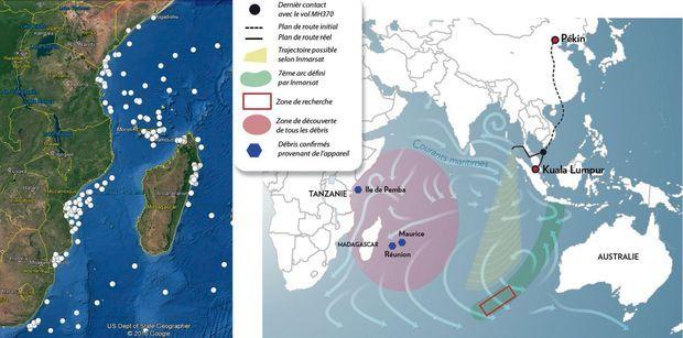 La carte de l'océanographe Charitha Pattiaratchi. Dès août 2014, il modélisait (points blancs) les endroits où les débris seraient susceptibles d'échouer.
