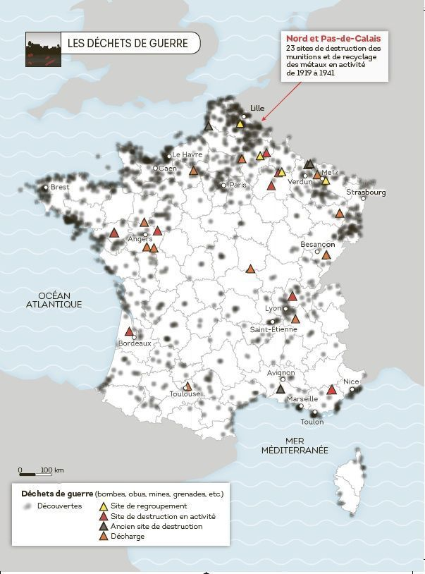 La carte des déchets de guerre