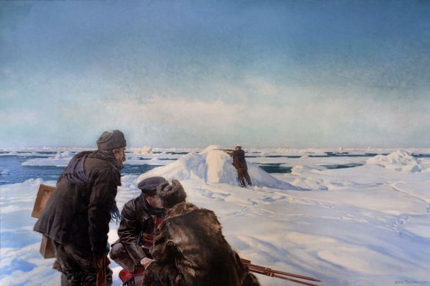 La chasse aux pagophiles (le petit personnage au centre est le prince Albert Ier) - Huile sur toile de Louis Tinayre, 200 x 302 cm – 1906