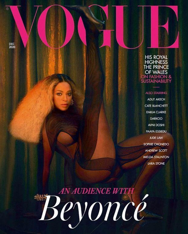 La combinaison Mugler en couverture du « Vogue » anglais en décembre 2020, portée par Beyoncé.