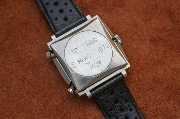La Heuer offerte à Haig Altounian, le mécanicien de McQueen sur le film « Le Mans », et gravée à son nom.