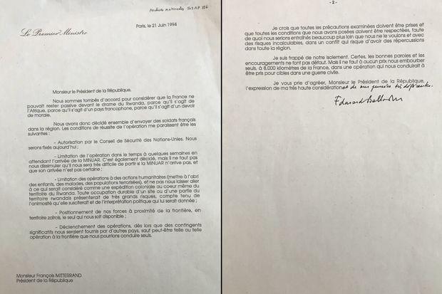 La lettre d'Edouard Balladur à François Mitterrand datée du 21 juin 1994.